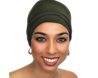 ON SALE Save 25% Dark Olive Chemo Hat, Sleep Hat, Alopecia Cap, Scarf Liner, Slouch Hat, Jersey Knit