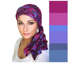 Raspberry Floral Turban Hat, Alopecia Scarf, Chemo Hat, Blue, Purple Yellow, Pink, Hat & Scarf Set by Turban Diva