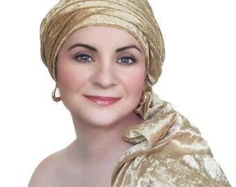 RETIREMENT SALE Turban Diva Gold Velvet Turban, Head Wrap, Chemo Hat, One Piece Wrap, Fitted Turban