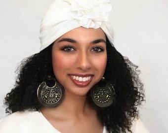 Turban Diva Flower Turban, Chemo Hat, Sleep Hat, Alopecia Cap,  Rayon Knit, Pre-tied Turban, Creme Ivory Turban 300-07