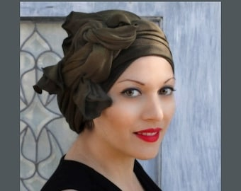 RETIREMENT SALE Turban Diva Dark Olive Green Turban, Head Wrap, Alopecia Head Scarf, Chemo Hat, Jersey Knit Hat & Scarf Set