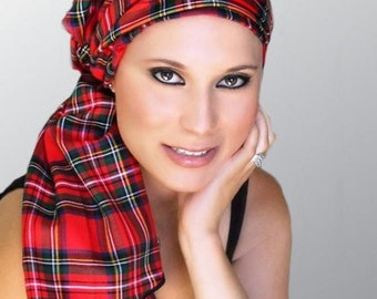 ON SALE Save 30% Turban Diva Red Plaid Turban Chemo Head Wrap Alopecia Scarf, Hat & Scarf Set, Gift for Her