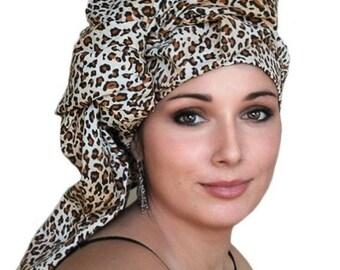 ON SALE Save 40% Leopard Cotton Turban Dreads Wrap, Head Wrap, Alopecia Scarf, Chemo Hat, Boho Gypsy Tribal, One Piece Wrap