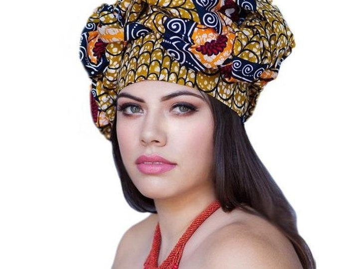 RETIREMENT SALE African Wax Print Turban Dreads Wrap,Red Gold Blue Orange Head Wrap, Chemo Hat, Boho, One Piece Fitted Wrap