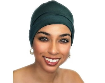 RETIREMENT SALE Chemo Hat, Sleep Hat, Alopecia Cap, Pre-Tied Turban, Slouch Hat, Forest Green, Rayon Knit, 299-02