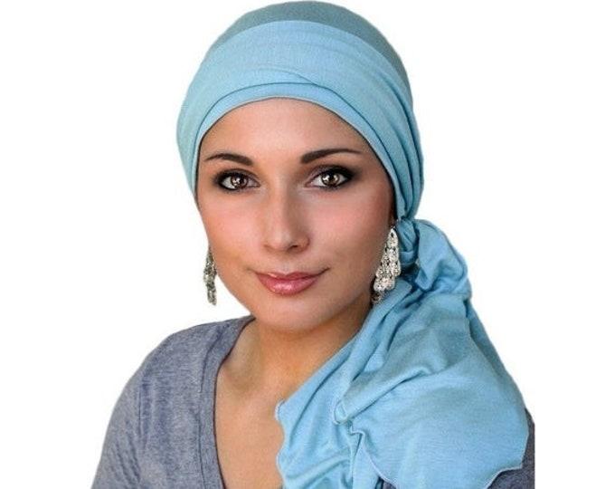 RETIREMENT SALE Turban Diva Chemo Hat, Pre-tied Turban, Head Wrap, Alopecia, Jersey Knit Hat & Scarf Set, Dusk Blue, Light Blue