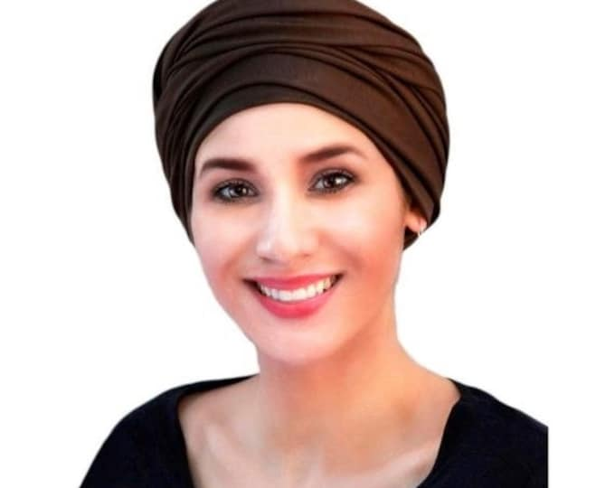 ON SALE Save 30% Turban Diva Turban, Chemo Hat, Brown Turban, Alopecia Scarf, Boho, Gypsy, One Piece Fitted, Jersey Knit Head Wrap