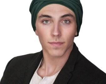 ON SALE Save 30% Men's Turban, Man's Head Wrap, Dreads Wrap, Ski Hat, Motorcycle Scarf, Man's Green Turban, Forest Green, Dark Green Turban,