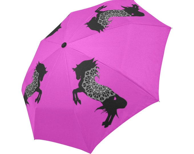 Automatic Open/Close Umbrella, Rearing Horse Mandala, Black and Fuchsia, Pink