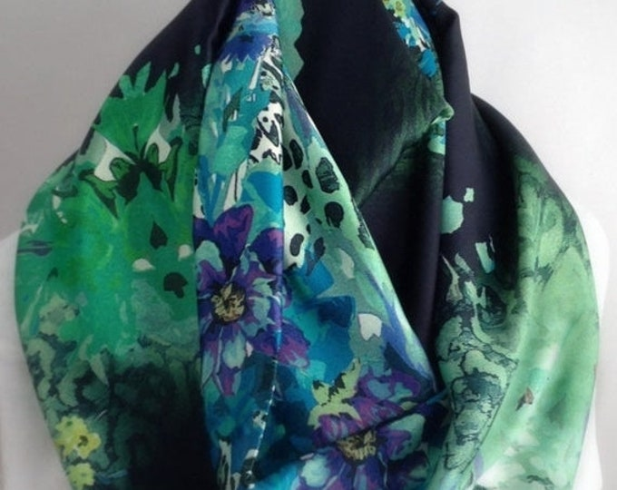 RETIREMENT SALE Green and Blue Floral Silky Infinity Scarf, Circle Scarf,  Accessories, Boho Scarf, Gift for Her