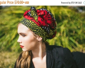 RETIREMENT SALE African Wax Print Turban Dreads Wrap, Red Yellow Black Head Wrap, Alopecia Scarf, Chemo Hat, Boho Gypsy Tribal, One Piece Fi