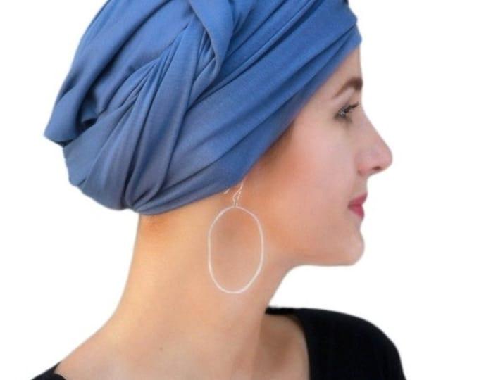 RETIREMENT SALE Turban, Chemo Hat, Dreads Wrap, Head Wrap, Jersey knit wrap, Smoky Blue, Denim blue, One Piece Wrap, Fitted