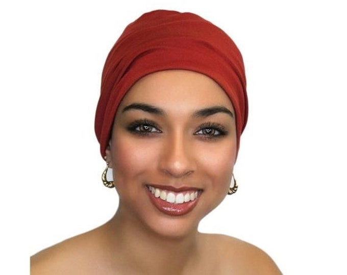 RETIREMENT SALE Save 50% Rust. Brick Red Chemo Hat, Sleep Hat, Alopecia Cap, Scarf Liner, Slouch Hat, Pretied Turban