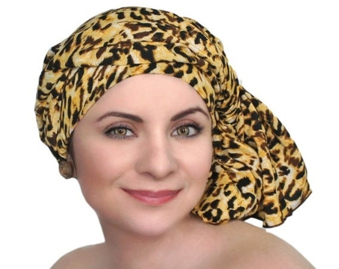 RETIREMENT SALE Turban Diva Leopard Turban Chemo Head Wrap One Piece Wrap, Fitted Turban