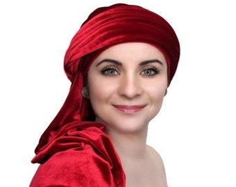 RETIREMENT SALE Turban Diva Red Velvet Turban, Head Wrap, Chemo Hat, One Piece Wrap, Fitted Turban