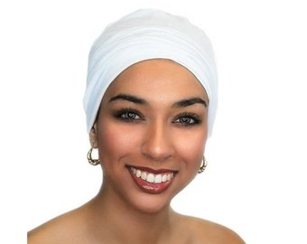 ON SALE Save 25% White Chemo Hat, Sleep Hat, Alopecia Cap, Cloche, Scarf Liner, Slouch Hat, Rayon Knit, White Beanie