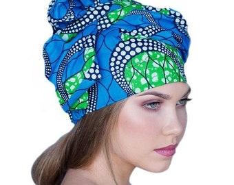 RETIREMENT SALE Save 50% African Wax Print Turban Dreads Wrap, Blue Green Black Head Wrap, Chemo Hat, Boho Gypsy Tribal, 1 Piece Wrap