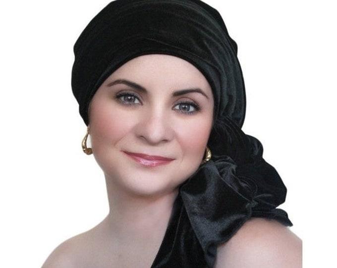 ON SALE Save 30% Turban Diva Black Velvet Turban, Head Wrap, Chemo Hat, Alopecia Scarf, Hat & Scarf Set