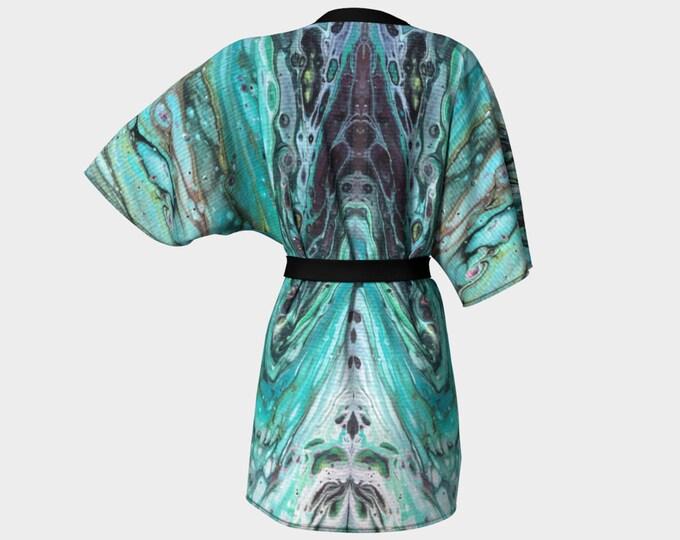 Kimono Robe, Dressing Gown, Teal, Turquoise, Black, Gray, White, Lounge Wear, Boho, Morning Tide Pattern 612