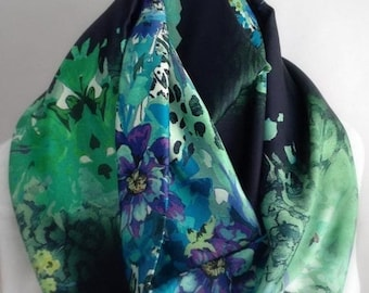 RETIREMENT SALE Save 50% Green and Blue Floral Silky Infinity Scarf, Circle Scarf,  Accessories, Boho Scarf, Gift for Her