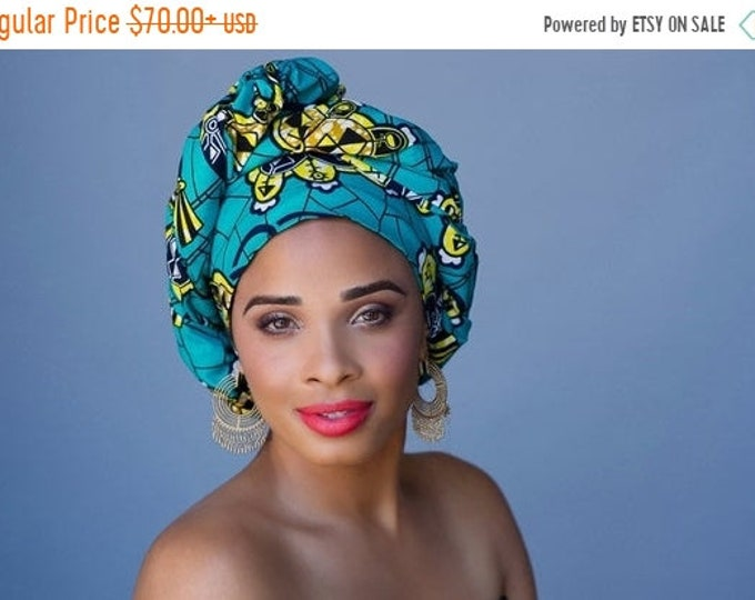 ON SALE Save 40% African Wax Print Turban Dreads Wrap, Turquoise Teal Gold Black Head Wrap, Alopecia Scarf, Chemo Hat, Boho