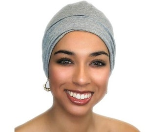 ON SALE Save 25% Chemo Hat, Sleep Hat, Alopecia Cap, Cloche, Scarf Liner, Slouch Hat, Sweatshirt Gray, Heather Gray
