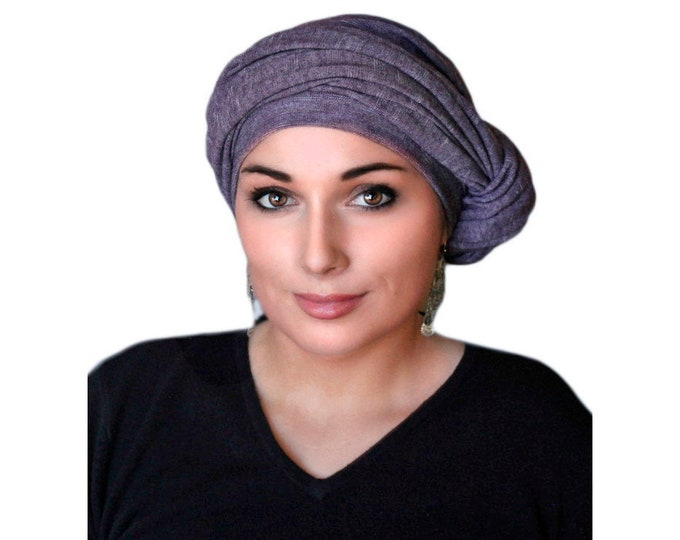 Plum Heather Turban, Purple Turban, Jersey Knit Head Wrap, Chemo Hat, Alopecia ScarfOne Piece Wrap