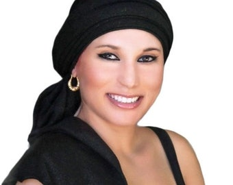 ON SALE Save 30% Turban Black Gold Head Wrap, Alopecia Scarf, Chemo Hat, Dreads wrap, Bohemian Gypsy Turban, One Piece Fitted, Jersey Knit