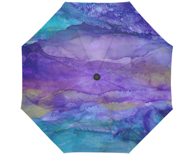 Automatic Open/Close Umbrella, Gift, Purple, Blue, Teal, Gold, Abstract