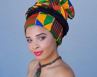 ON SALE Save 40% African Kente Print Turban Dreads Wrap, Green Red Blue Yellow Head Wrap, Alopecia Scarf, Chemo Hat, Boho Gypsy Tribal, One