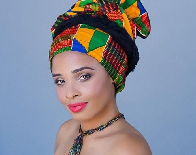 ON SALE Save 40% African Kente Print Turban Dreads Wrap, Green Red Blue Yellow Head Wrap, Alopecia Scarf, Chemo Hat, Boho Gypsy Tribal, One