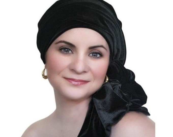 RETIREMENT SALE Turban Diva Black Velvet Turban, Head Wrap, Chemo Hat, Alopecia Scarf, Hat & Scarf Set