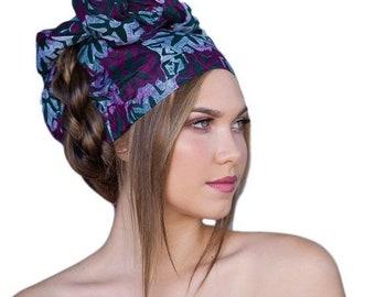 RETIREMENT SALE Save 50% African Wax Print Turban Dreads Wrap, Magenta Green Black Head Wrap, Chemo Hat, Boho Gypsy Tribal, 1 Piece Wrap