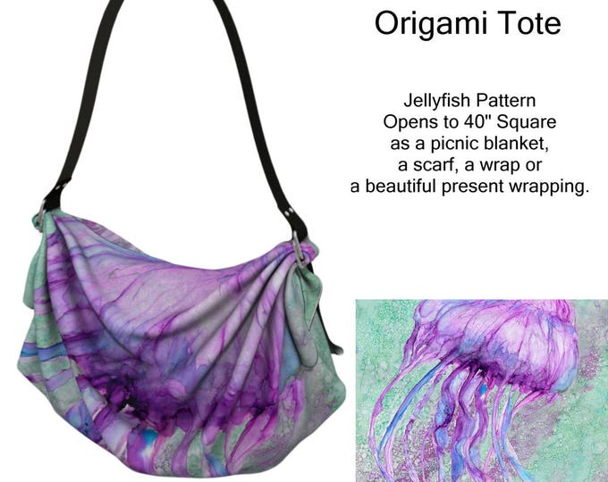 Origami Bag, Jellyfish Pattern, Purse, Wearable Art, Lap Blanket, Shawl, Scarf, Picnic Blanket, Diaper Bag,Pink, Purple,Green, Teal