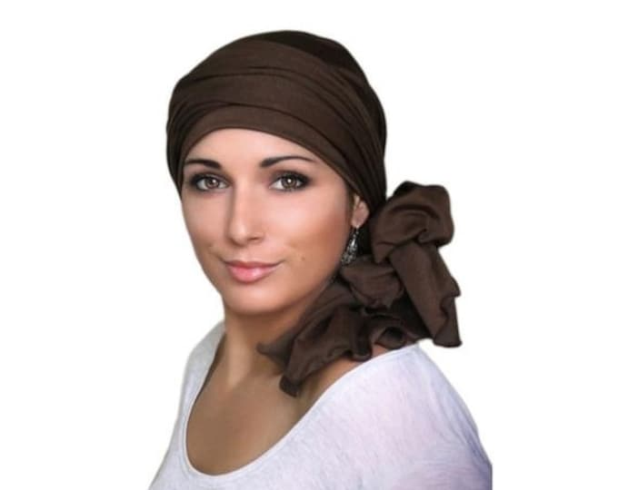 ON SALE Save 30% Turban, Brown Turban, Chemo Hat, Head Wrap, Alopecia Head Scarf,  Jersey Knit Hat & Scarf Set, Gift for Her