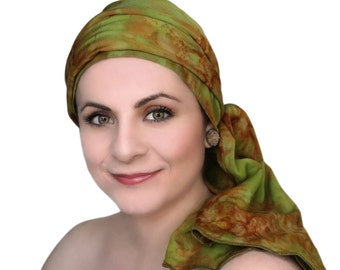 Turban Diva Olive Green Rust Chemo Turban Hat Set, Batik Head Wrap Alopecia Scarf, Chemo Hat, Cancer Hat & Scarf Set