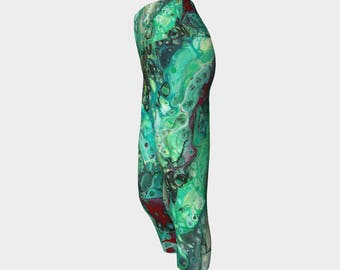 "Yoga Capri Leggings ""Ruby Malachite "" Pattern 953, Green, Black, Red Wearable art"