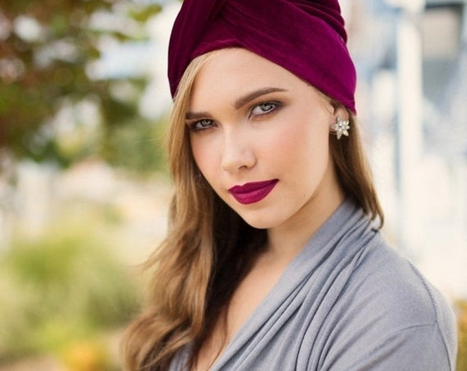 ON SALE Save 30% Turban Diva Burgundy Velvet Turban, Head Wrap, Chemo Hat, Alopecia Scarf, Hat & Scarf Set by Turban Diva, Gift for Her, Can