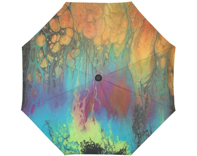 Automatic Open/Close Umbrella, Gift, Orange, Green, Blue, Pink, Abstract