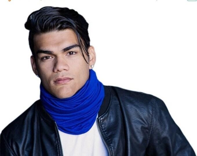 ON SALE Save 30% Men's Blue Turban, Man's Head Wrap, Dreads Wrap, Ski Hat, Motorcycle Scarf, Man's Blue Turban, Tactical Scarf