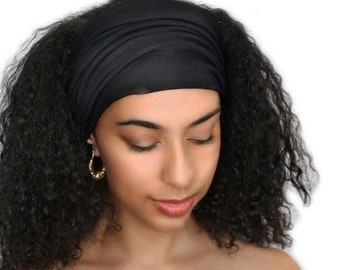 ON SALE Save 25% Black Turban Head Band, Yoga headband, Wide Headband, Exercise Headband, Pretied Turban 298-03a