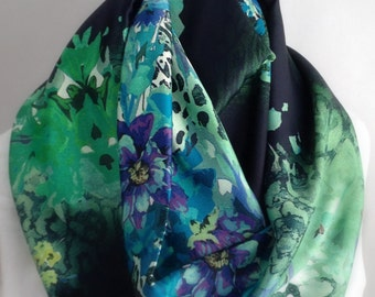 Green and Blue Floral Silky Infinity Scarf, Circle Scarf,  Accessories, Boho Scarf, Gift for Her