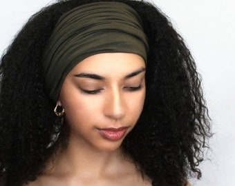 ON SALE Save 25% Dark Olive Turban Head Band, Yoga headband, Wide Headband, Pretied Turban, Chemo Hat 298-20a