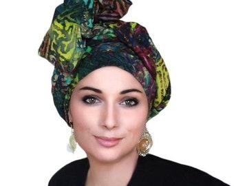 RETIREMENT SALE Turban Dreads Wrap, Green Purple Gold Cotton Head Wrap, Alopecia Scarf, Chemo Hat, Boho Gypsy Tribal, 1 Piece Wrap