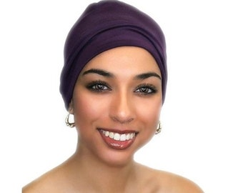 ON SALE Save 25% Chemo Hat, Sleep Hat, Alopecia Cap, Cloche, Scarf Liner, Slouch Hat, Plum Purple, Modal Rayon Knit,