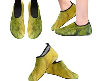 Yoga Shoes, Barefoot Shoes, Women's Shoes, Kids Shoes, Flat Shoes, Slip-ons, Casual Shoes, Green, Gold, Abstract, Artsy Shoes
