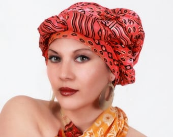 Tribal Sun Red Turban Head Wrap, Alopecia Scarf, Chemo Hat, Boho Gypsy Tribal,  Dreads Wrap, One Piece Fitted Wrap, Cotton Turban