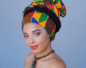 RETIREMENT SALE African Kente Print Turban Dreads Wrap, Green Red Blue Yellow Head Wrap, Alopecia Scarf, Chemo Hat, Boho Gypsy Tribal, One P