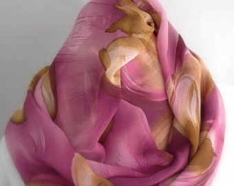 RETIREMENT SALE Save 50% Rose Pink Mustard Gold Floral Infinity Scarf, Circle Scarf,  Accessories, Boho Scarf, Gift for Her, gift