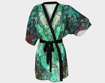 Kimono Robe, Dressing Gown, Black, Green, Ruby Red, Lounge Wear, Boho, Ruby Malachite Pattern 614
